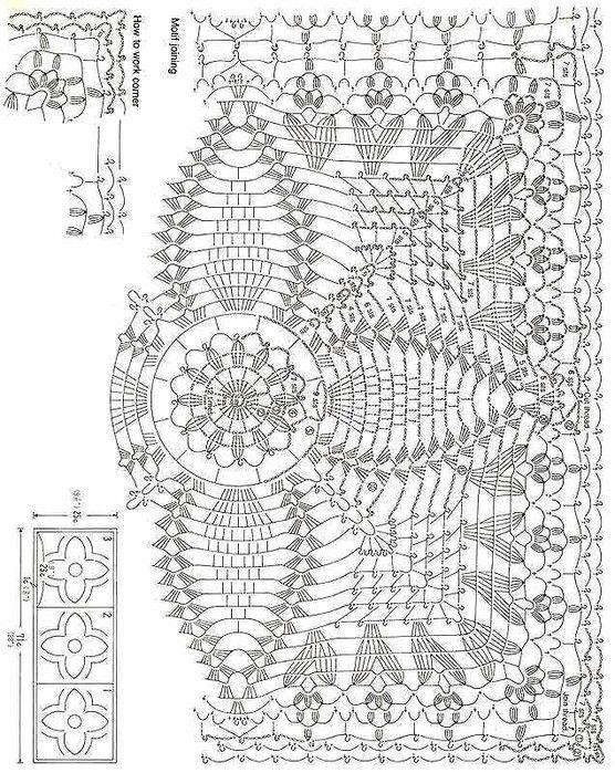 Прямоугольные салфетки вязанные крючком схемы
