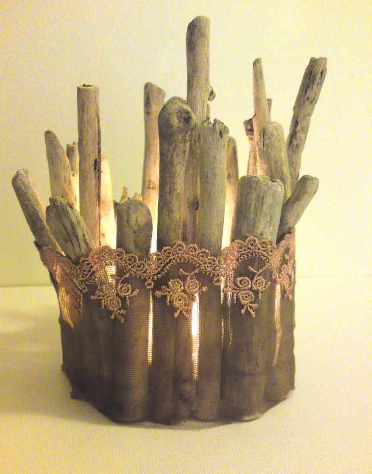 Driftwood Candle Holder with romantic lace in pink and brown- wedding ...