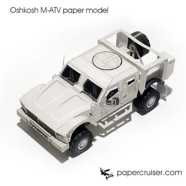 Oshkosh M-ATV military 4x4 truck paper model | http://papercruiser.com/downloads/oshkosh-m-atv-mrap-paper-model/