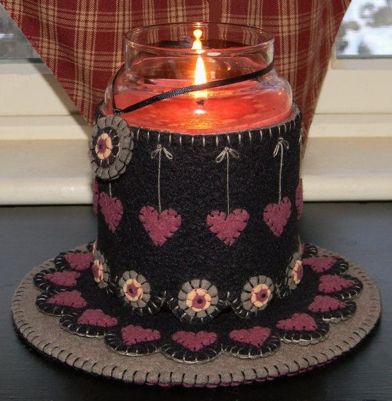 "Penny Rug Patterns to Download | Heartstrings ""2"" Candle Jar Wrap, Penny Rugs & Ornie e-pattern"