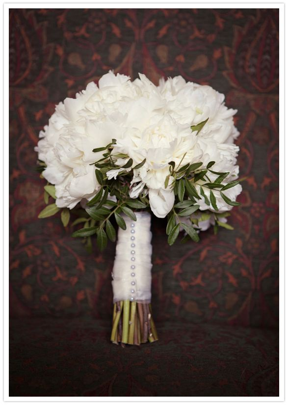 Duchess peonies in ivory with a trim of herbs