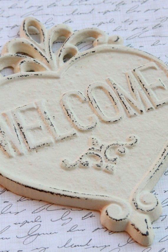 Welcome Heart Sign Cast Iron Ivory Shabby Chic by FourRDesigns, $16.00