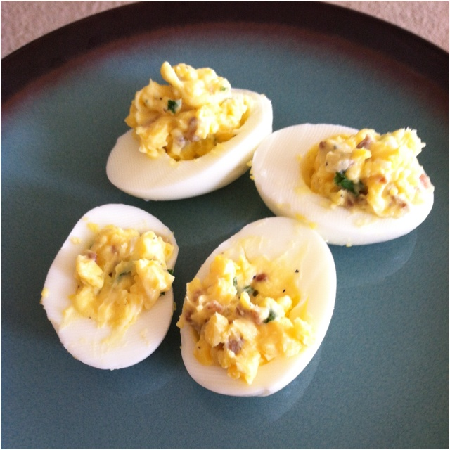Deviled Eggs: Try these lower calorie alternatives: turkey bacon and ...