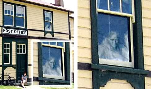 st bathans ghost nz.jpg (487×286) Andrew Watters took this picture of his partner sitting in front of the historical old St Bathans Post Office in scenic St Bathans, Central Otago New Zealand. The building had been vacant for a year and was completely locked up. The window in which this figure is seen is the postmaster's living quarters.