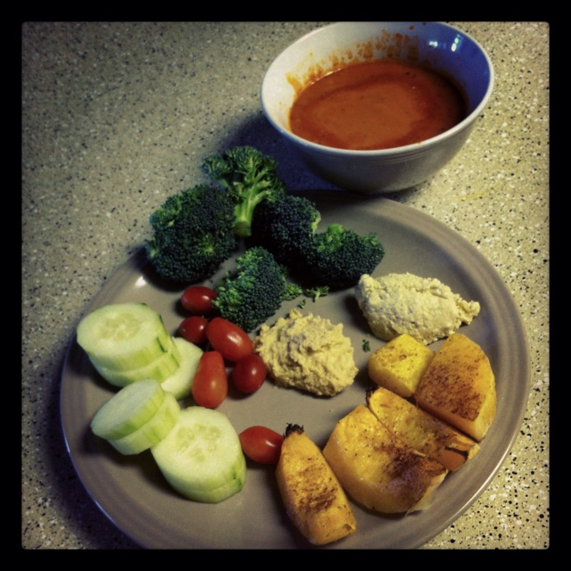 cal! All homemade :) Tomato-gorgonzola soup, cucumber, cherry tomatoes ...