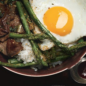 Korean Rice Bowl with Steak, Asparagus, and Fried Egg | Recipe