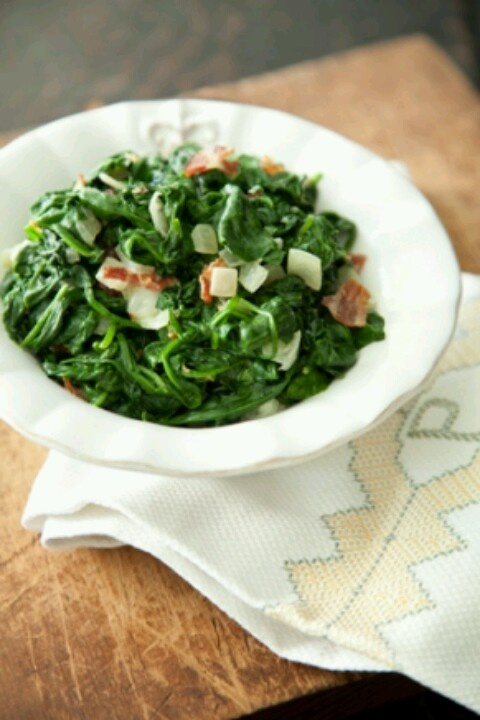 Bacon creamed spinach | Looks yummy | Pinterest