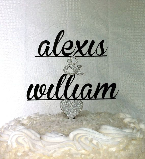 Custom Names Wedding Cake Topper Personalized Wedding Cake Topper Bri