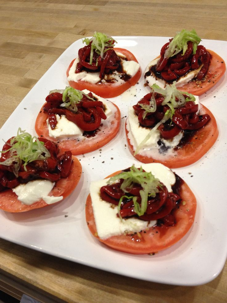 Tomato, mozzarella and pickled red onion | Food by E.V.O | Pinterest