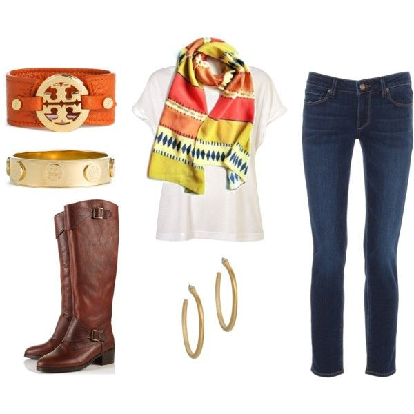 Basics turn into an outfit with a jazzy scarf