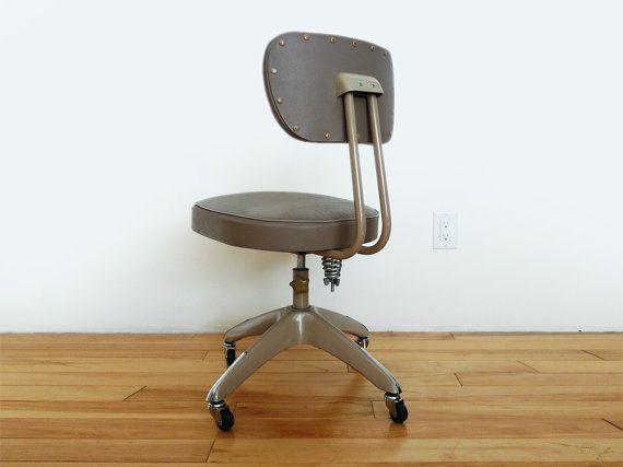 Vintage Grey Industrial Rolling Desk Chair Mid Century fice