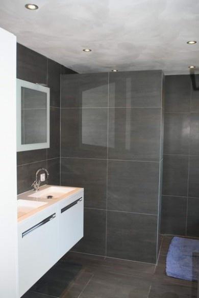 Badkamer Breda chique grijs grote tegels  badkamer  Pinterest