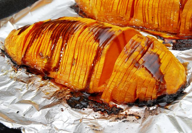 Hasselback Sweet Potatoes (use goat butter or dairy/soy free butter)