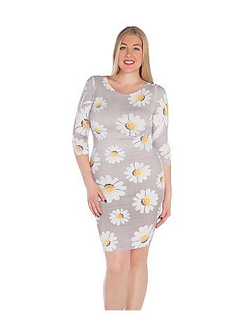 Crazy daisy print dress has 3/4 sleeves, a rounded neckline, and