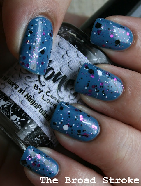 Zoya Breezi topped with some purple glitter and Cover Band's Sticks & Stones.