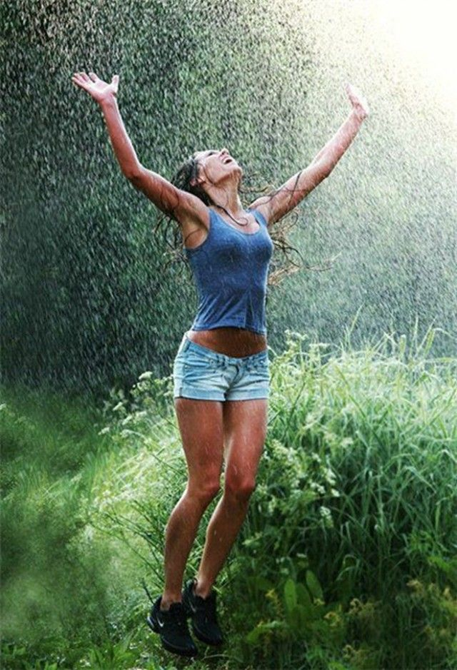 Sexy girl jumps in the rain | Jump Jump Jump in the AIR ...
