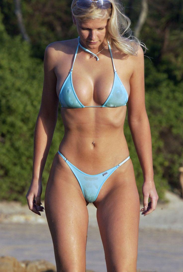 large-chested model in sheer blue bikini