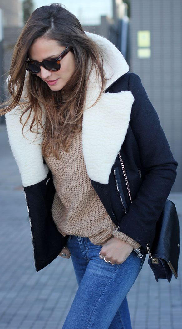 Internally wooled jacket jeans and sweater
