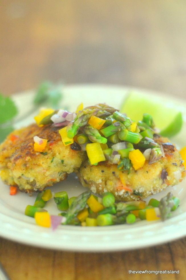 Shrimp Cakes with Asparagus Salsa - from The View from Great Island