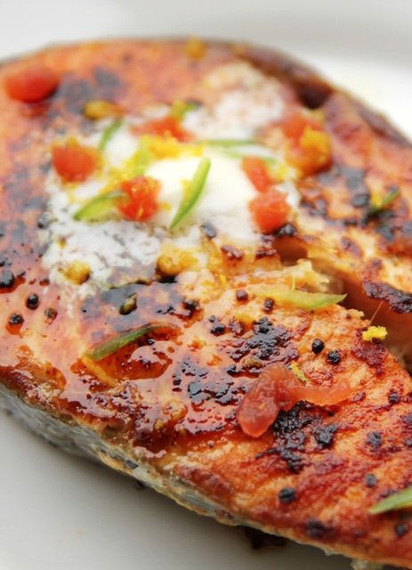Grilled Salmon with Habanero-Lime Butter.
