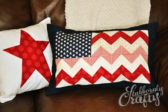 Chevron flag pillow cover tutorial