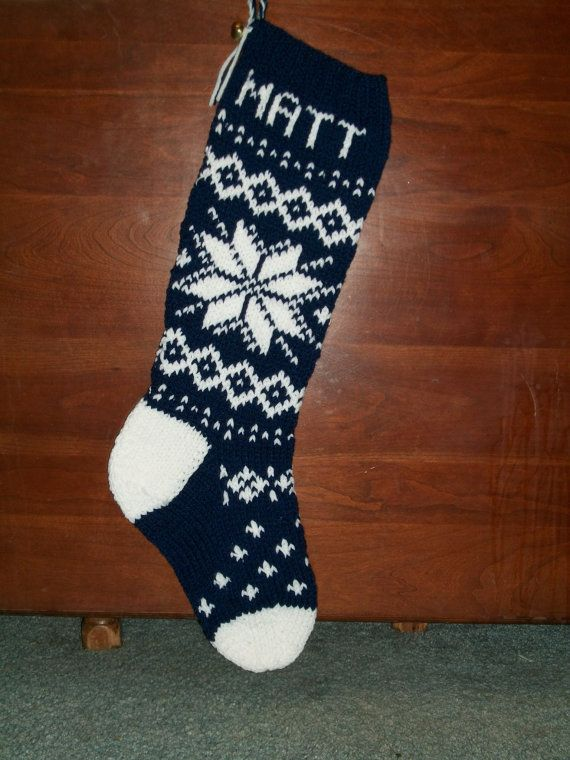 Hand Knit Christmas Stocking Patterns : Pattern Only Hand Knitted Original Design Snowflake ...
