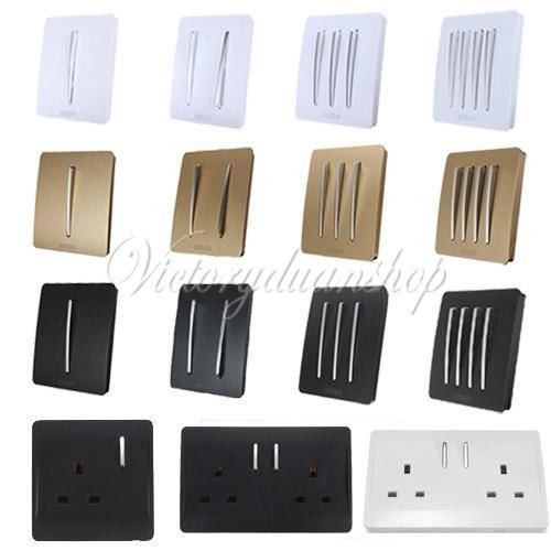 Decorative modern black white light chrome switch socket button contr - Modern switches and sockets ...