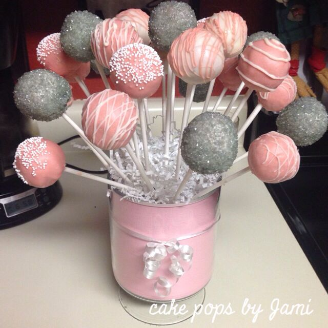 Pictures Of Cake Pops For Baby Shower : Baby girl Babyshower cake pops. Pink grey and white themed ...