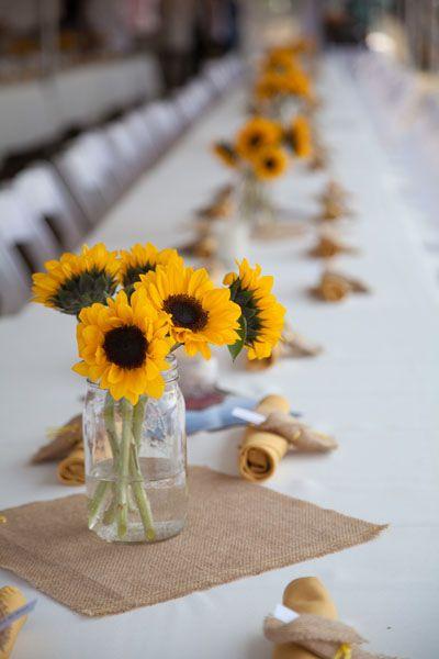 Summer Wedding Idea - Sunflowers, Mason Jars & Burlap. Great ideas for summer brides on a budget.