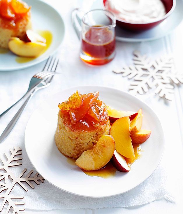 ... Peach and Orange Pudding Cakes with Orange-Blossom Syrup | Gourmet