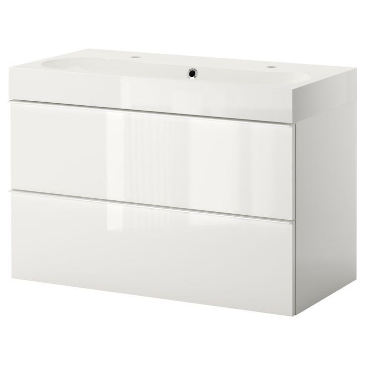 Ikea Godmorgon Tall Cabinet ~ GODMORGON BRÅVIKEN Sink cabinet with 2 drawers  high gloss white