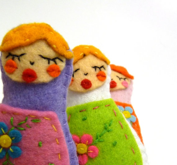 Ten Felt matrioshka girls handmade