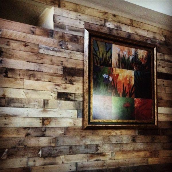 Diy pallet wood wall great idea pinterest for Great pallet ideas