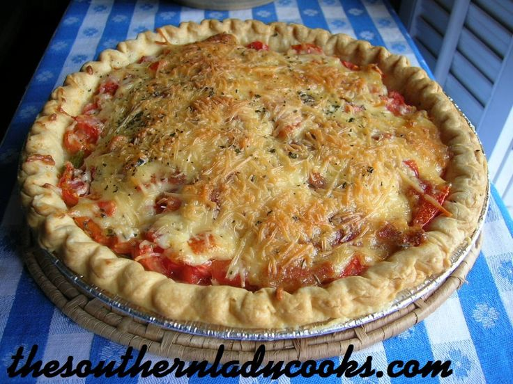 TOMATO PIE: what to do with the fresh tomatoes..maybe add some sausage ...