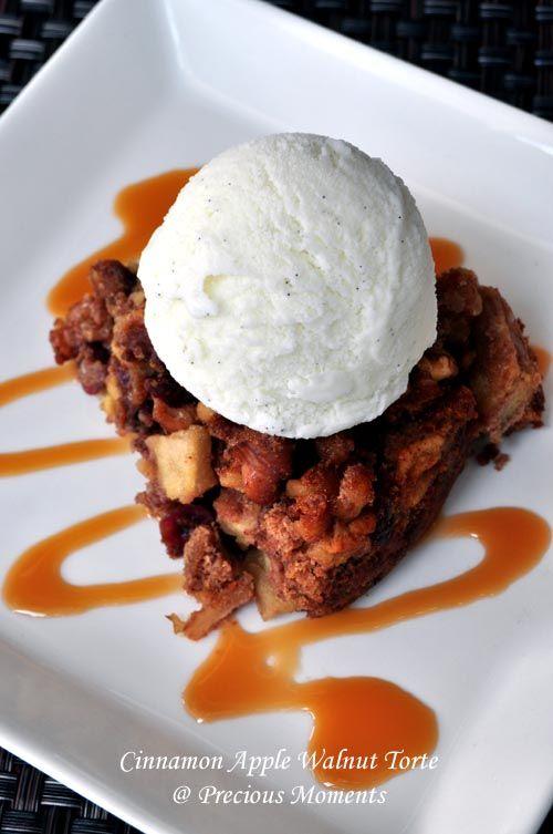 Cinnamon Apple Walnut Torte with Vanilla Ice Cream