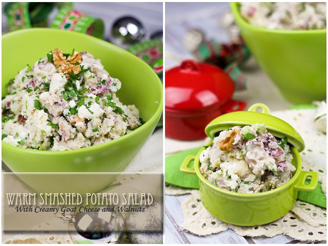 Deliciously Warm Smashed Potato Salad with Creamy Goat Cheese and ...