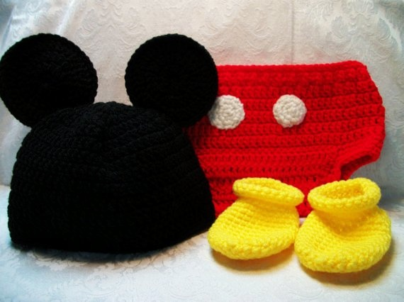 Free Crochet Pattern For Mickey Mouse Hat And Diaper Cover : Crocheted Mickey Mouse Ears, Diaper Cover and Booties ...