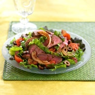 Steak Salad with Grilled Onions and Strawberry Tomatoes