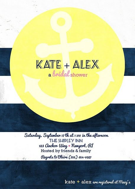 Nautical Bridal Shower Invitation..swap out yellow for pink