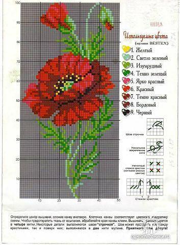 Схема вышивки крестиком один мак 412