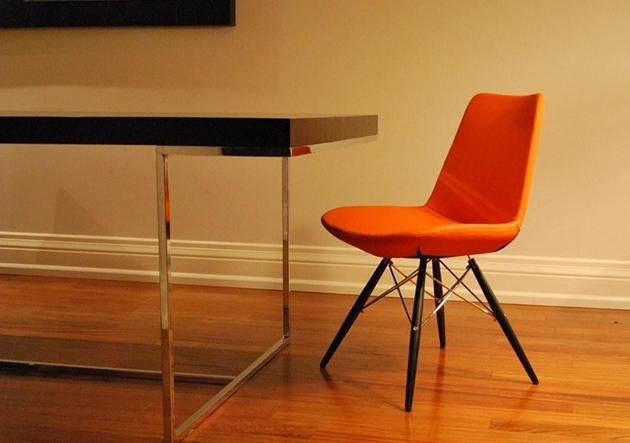 Orange leather dining chair a house a home pinterest