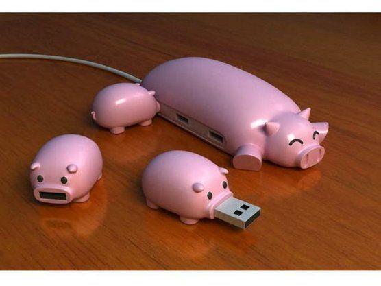 cute USB hub -pig - awesome! I love these!! haha