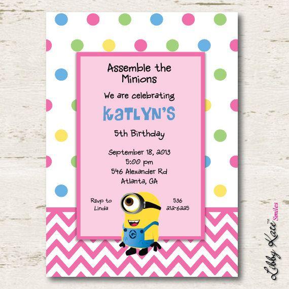 Minion Birthday Invitation Girl Printables by LibbyKateSmiles, $1.35