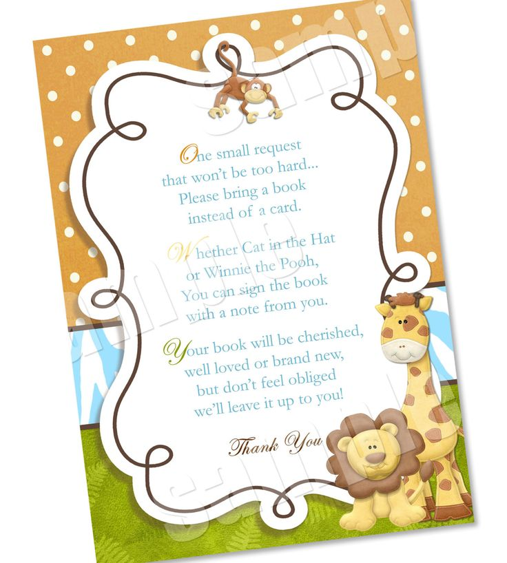 of the card please bring a book instead of a card jungle baby shower