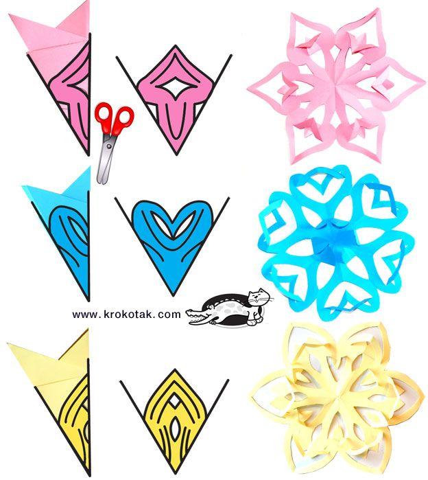 Схемы объемные снежинки из бумаги своими руками