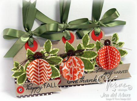 Fall gift tags by Jen del Muro using Verve Stamps.  #vervestamps
