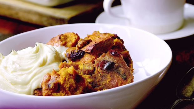 Maple pumpkin bread pudding - can be made without cranberries or nuts.