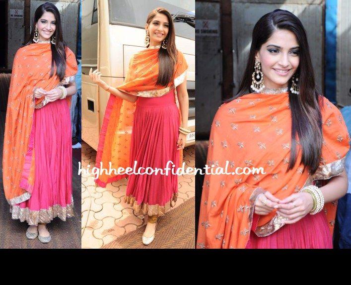 More orange and pink. Plus love the kundan earrings. <3 Anamika Khanna.