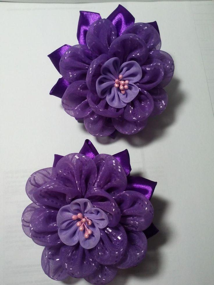 Вышивки цветов из атласных лент