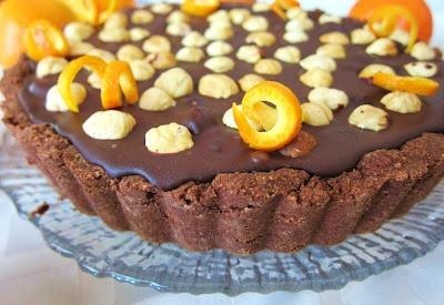 From Fragrant Vanilla Cake: vegan chocolate orange hazlenut tart